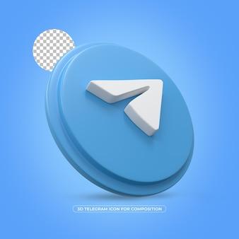 Telegram geïsoleerd 3d teruggegeven pictogram