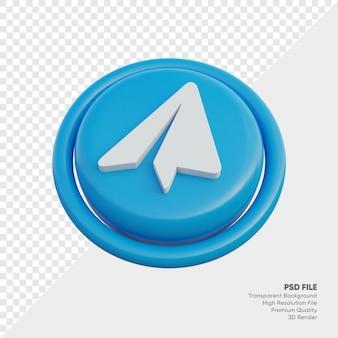Telegram isometrische 3d-stijl logo concept icoon in ronde geïsoleerd
