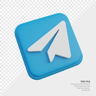 Telegram isometrische 3d-stijl logo concept pictogram in ronde hoek vierkant geïsoleerd