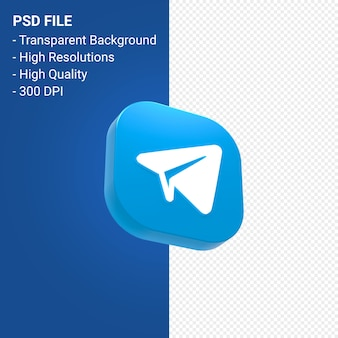 Telegram logo 3d pictogram rendering geïsoleerd