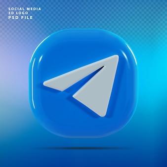 Telegram logo 3d render luxe