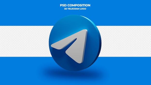 Telegram pictogram 3d render geïsoleerd