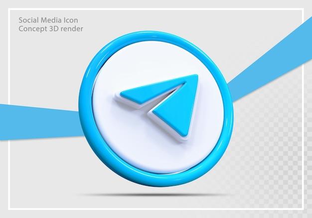 Telegram social media icon 3d render concept