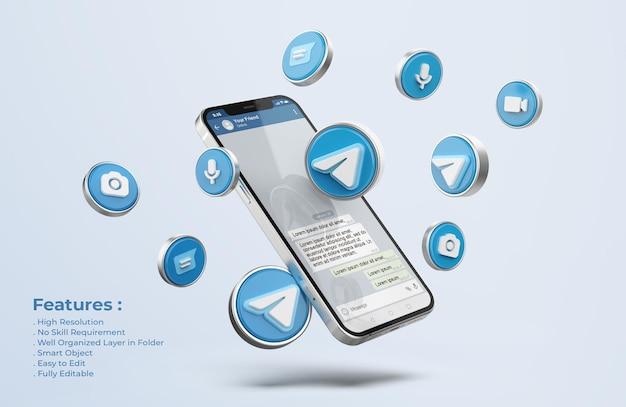 Telegrama en maqueta de teléfono móvil plateado