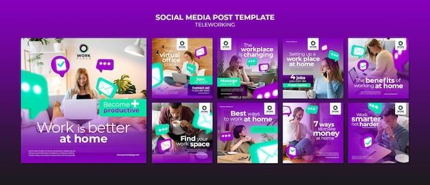 Telewerken social media post ontwerpsjabloon