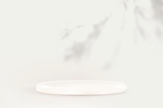 Telón de fondo del producto psd con podio y sombra de hojas sobre fondo blanco.