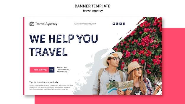 Tema de banner de agencia de viajes