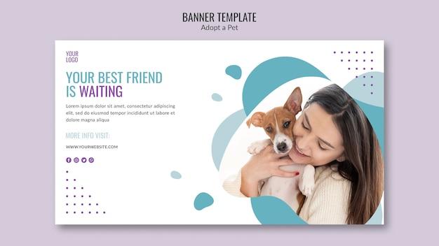 Tema de banner con concepto de adopción de mascotas