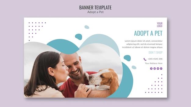 Tema de banner con diseño de adopción de mascotas