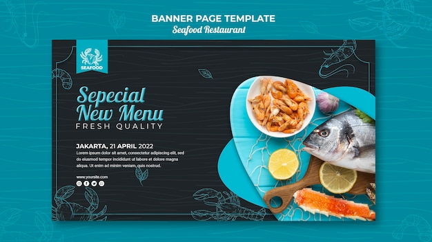 Tema de banner de restaurante de mariscos