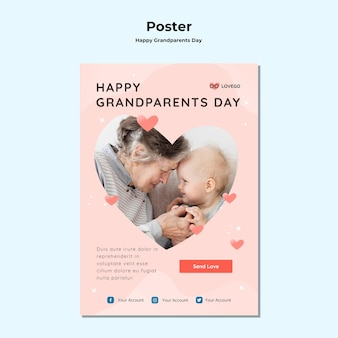 Tema de cartel de feliz día de los abuelos