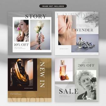 Tema de cosmética y moda de publicaciones en redes sociales