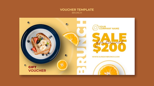 Tema del brunch per modello di voucher