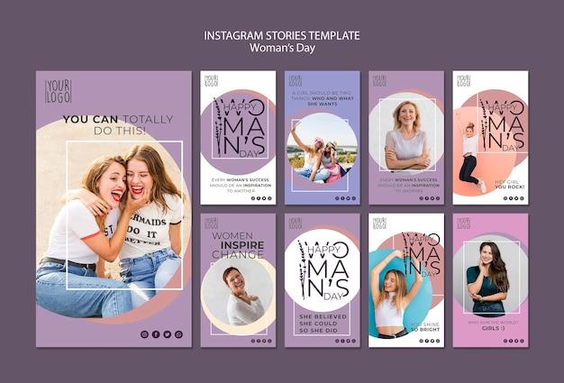 Tema del giorno della donna per il modello di storie di instagram