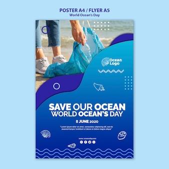 Tema del modello del manifesto di giornata mondiale degli oceani