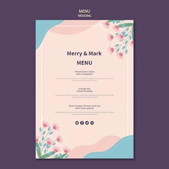 Tema del modello di menu di nozze