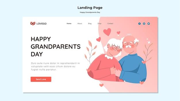 Tema della pagina di destinazione del giorno dei nonni felici