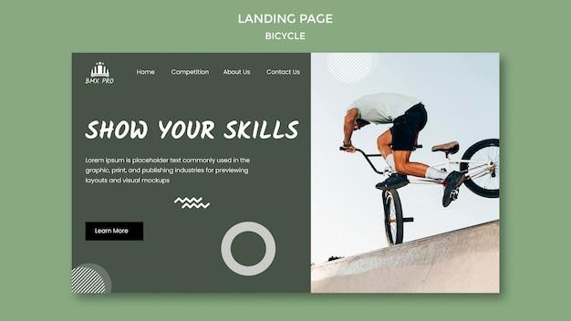 Tema della pagina di destinazione della bicicletta