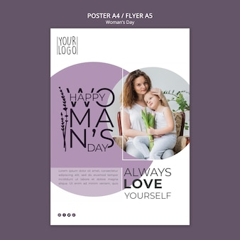 Tema del día de la mujer para la plantilla del póster