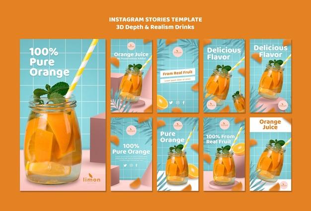 Tema de historias de instagram de bebidas de profundidad y realismo 3d