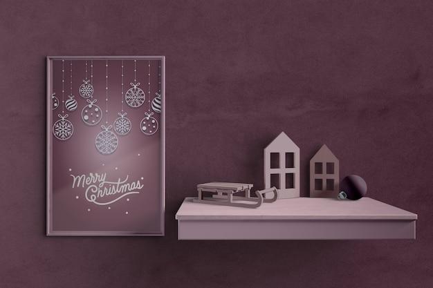 Tema natalizio su pittura mock-up