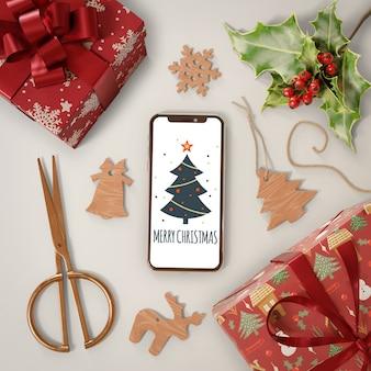 Tema navideño con dispositivo moderno