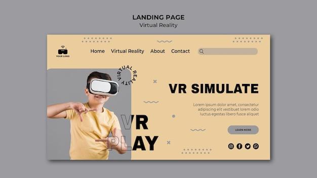 Tema de página de aterrizaje de realidad virtual