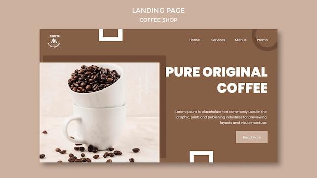 Tema de la página de destino de la cafetería