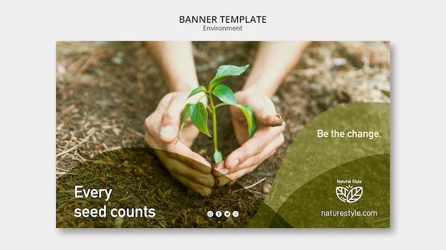 Tema de plantilla de banner con concepto de medio ambiente