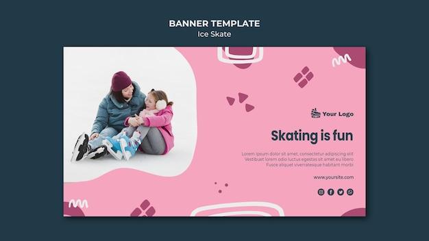 Tema de plantilla de banner de patinaje sobre hielo