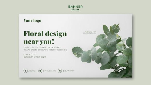 Tema de plantilla de banner de plantas