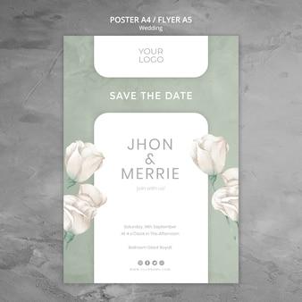 Tema de plantilla de póster de boda