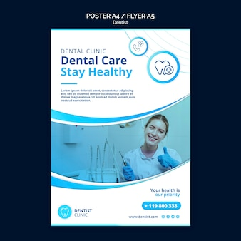 Tema de plantilla de póster de dentista