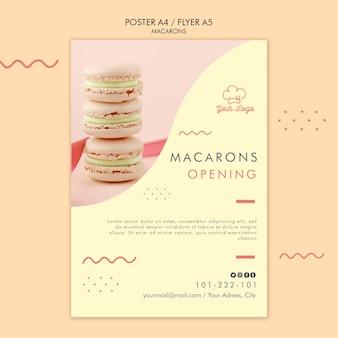 Tema de plantilla de póster de macarons