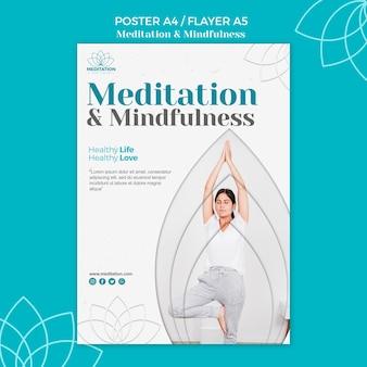 Tema de plantilla de póster de meditación