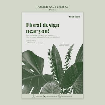 Tema de plantilla de póster de plantas