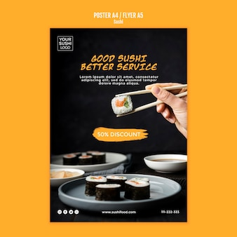 Tema de plantilla de póster de sushi