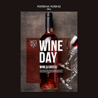 Tema de plantilla de póster de vino