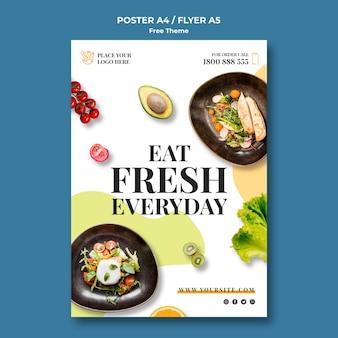 Tema de póster de comida saludable