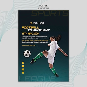 Tema de póster con deporte y tecnología.