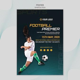 Tema de póster con diseño deportivo y tecnológico.