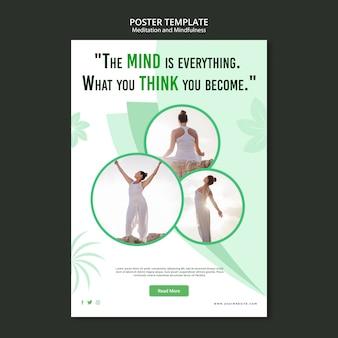 Tema del póster de meditación y atención plena