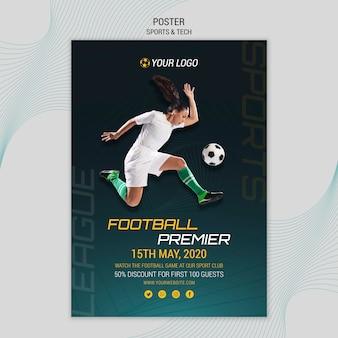 Tema de póster con tema deportivo y tecnológico