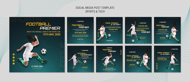 Tema de publicación en redes sociales con deporte y tecnología