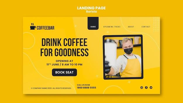 Tema webtemplate della pagina di destinazione del barista
