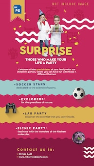 Template editable party kids