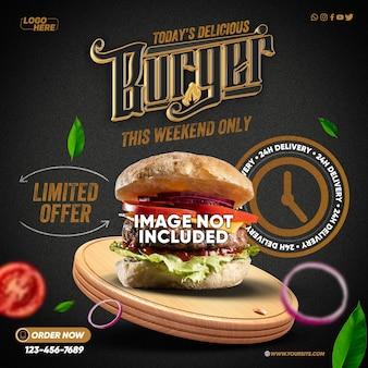 Template social medias heerlijke hamburger vandaag alleen dit weekend met 24-uurs levering