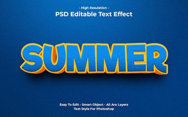 Templete de efecto de texto de verano.