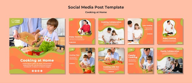 Tempo di cottura con post sui social media di famiglia