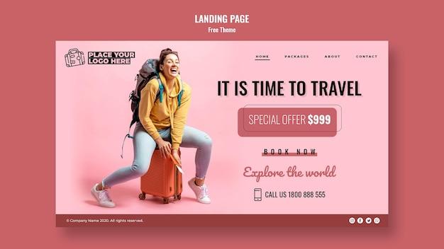 Tempo di viaggiare modello di pagina di destinazione con foto